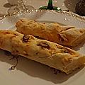 Ficelles apéritives d'alsace (saucisses knack, mimolette, cumin)