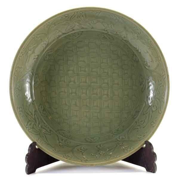A Large Longquan Celadon-Glazed Charger, 15th Century