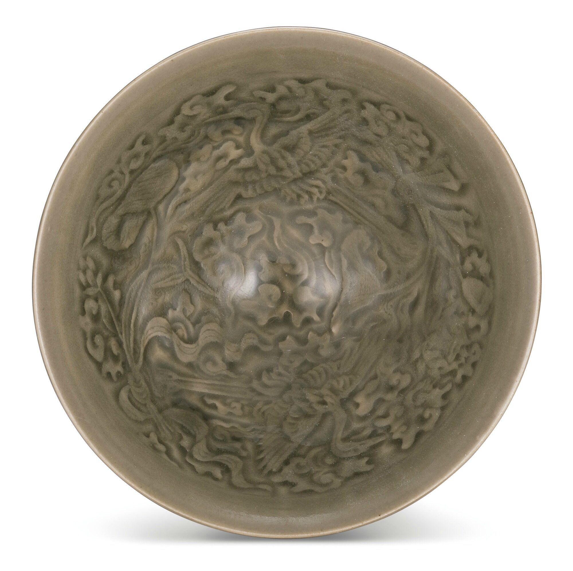 A moulded 'Yaozhou' 'cranes' bowl, Northern Song dynasty (960-1127)
