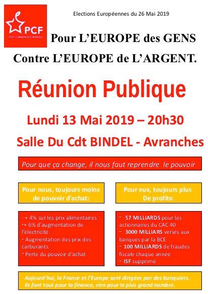 élections européennes 2019 - réunions publiques à Avranches : la France Insoumise, vendredi 10 mai et le PCF, lundi 13 mai