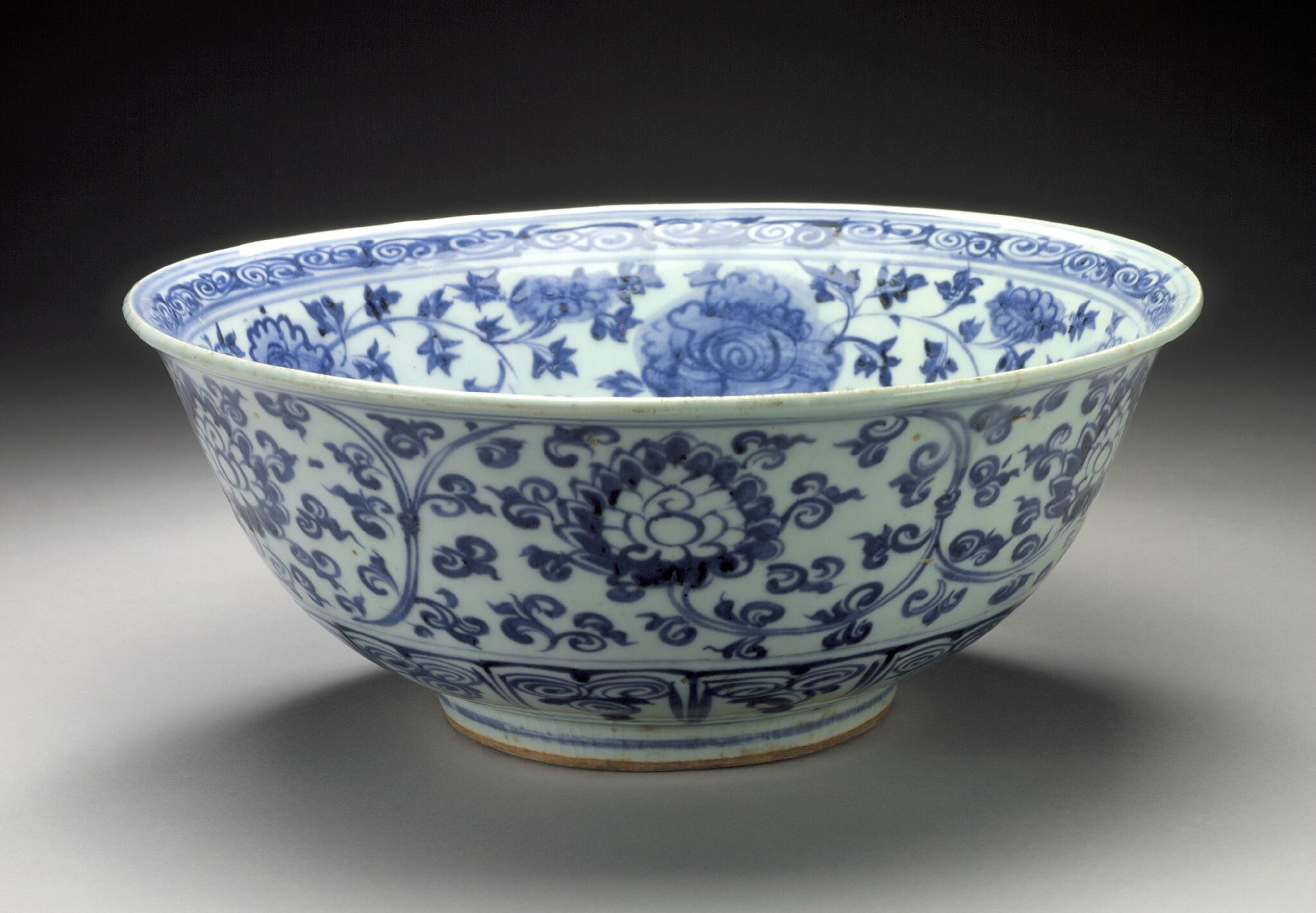 Large Bowl (Wan) with Lotuses and Floral Scrolls, middle Ming dynasty, about 1450-1550