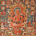 An important framed paubha depicting avalokiteshvara, nepal, circa 1300