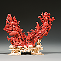 Groupe en corail rouge légèrement taché de blanc, chine, début du xxe siècle