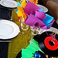 Centre de table vinyl année 80 disco fluo
