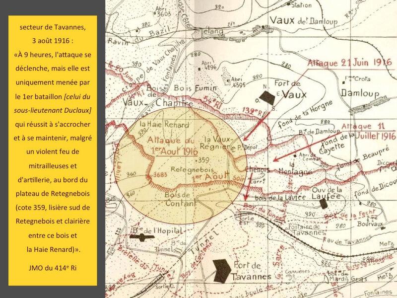 secteur Tavannes, 3 août 1916