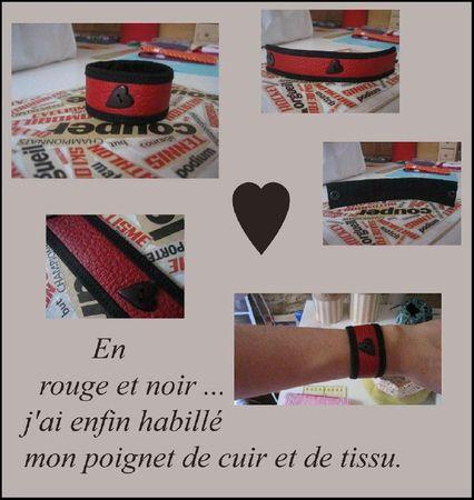 Bracelet cuir, tissu en Rouge et Noir