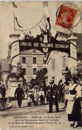 CPA Belfort Inauguration 3 Sièges 1913 Arc Triumph Rue Mulhouse