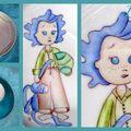 Enfants aux cheveux bleus