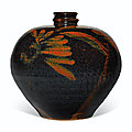 A russet decorated black-glazed ovoid bottle, xiaokou ping, jin dynasty (1115-1234)