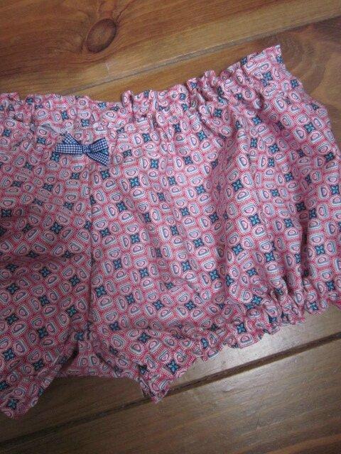 Culotte BIANCA en coton fushia imprimé blanc et turquoise - noeud vichy marine (2)