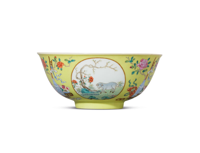 2019_HGK_16695_0051_000(a_yellow-ground_famille_rose_medallion_bowl_daoguang_six-character_sea)