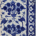 Three white and blue fritware tiles, egypt or syria, late 15th - early 16th century