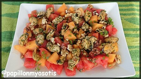 salade de melon, pastèque et moules
