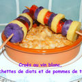 Croés au vin blanc, diots de savoie et duo de pommes de terre en brochettes