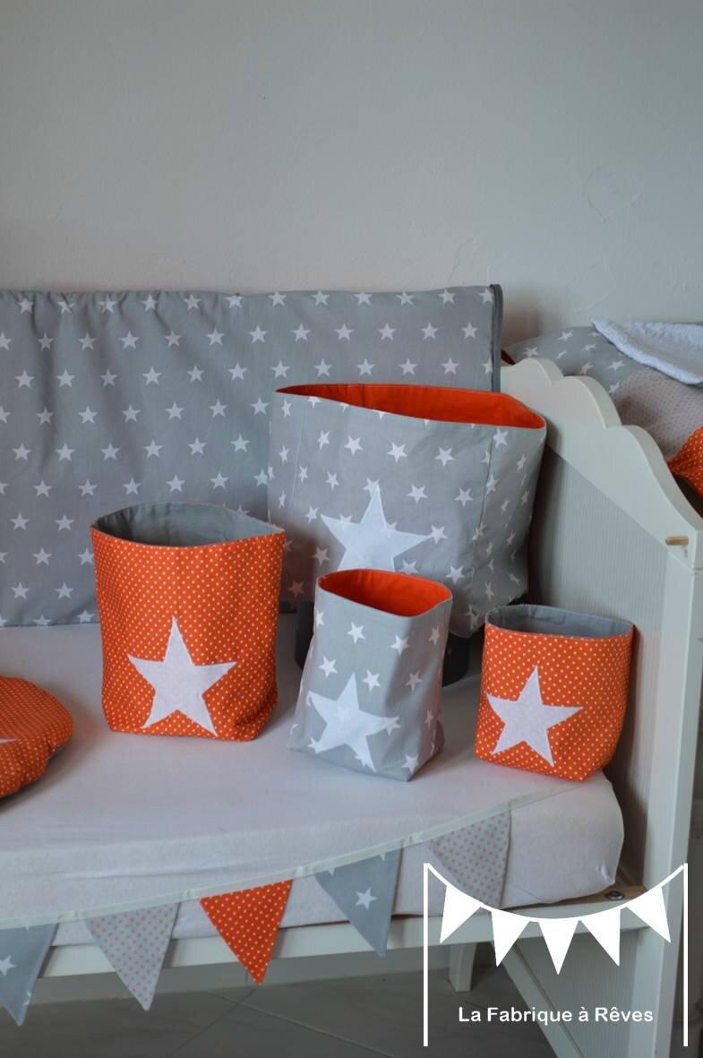pochons rangement réversible chambre bébé garçon orange gris blanc ...