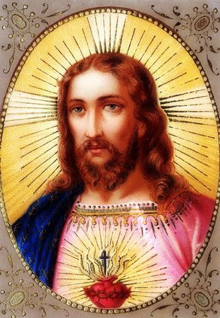 Sacred Heart most holy and most loving portrait colorlith Bouasse Lebel 442