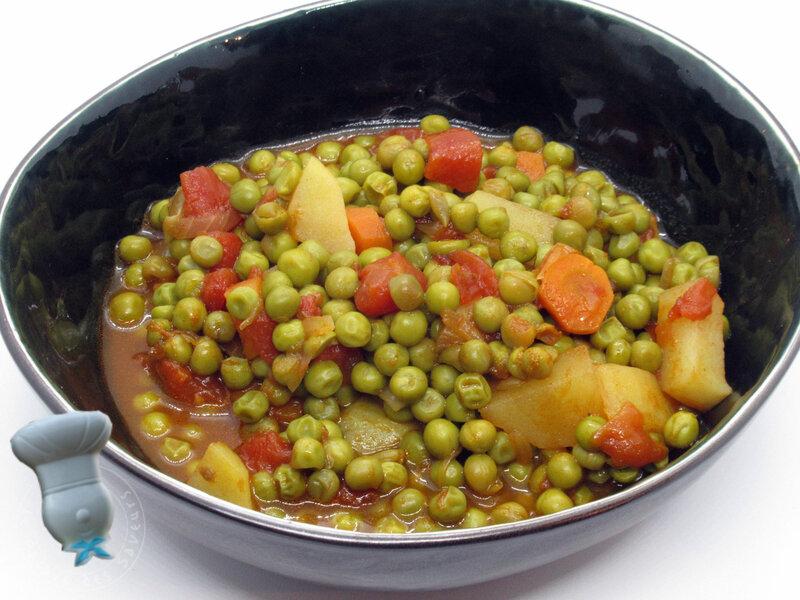 Petits pois, carottes, pommes de terre à la tomate