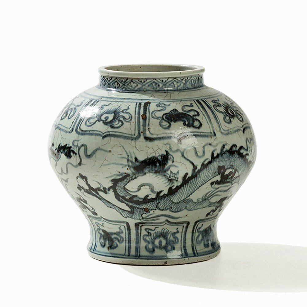 Blue and White jar with Dragons and Lucky Symbols, Ming dynasty (1686-1644)