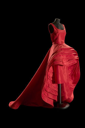 Nove Gonne (Nine Skirts), 1956, By Roberto Capucci (Italian, b. 1930). Sala Bianca Palazzo Pitti Florence. Sculpture-dress, 'bello' red silk taffeta, overlapping elements on the skirt. Claudia Primangeli / L.e C. Service. Courtesy of the Philadelphia Museu