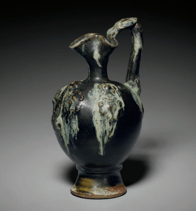 A rare splash-glazed applique-decorated ewer, Tang dynasty, 7th-8th century