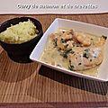 Curry de saumon et crevettes