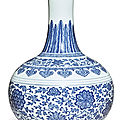 A fine ming-style blue and white bottle vase, qianlong seal mark and period (1736-1795)