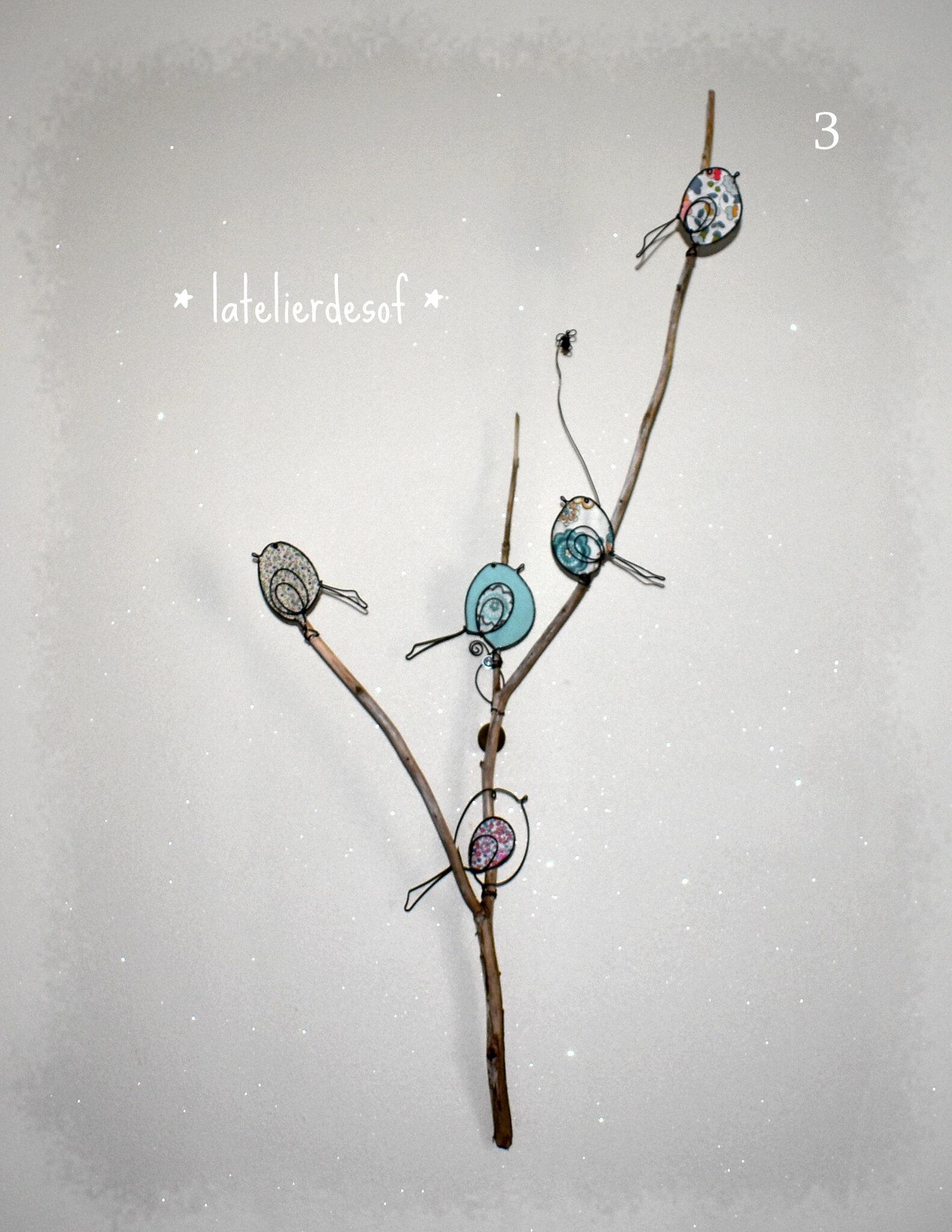 oiseaux sur une branche bois flotté fil de fer