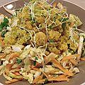 Quinoa au curcuma, ses crevettes roses et son méli mélo de crudités !