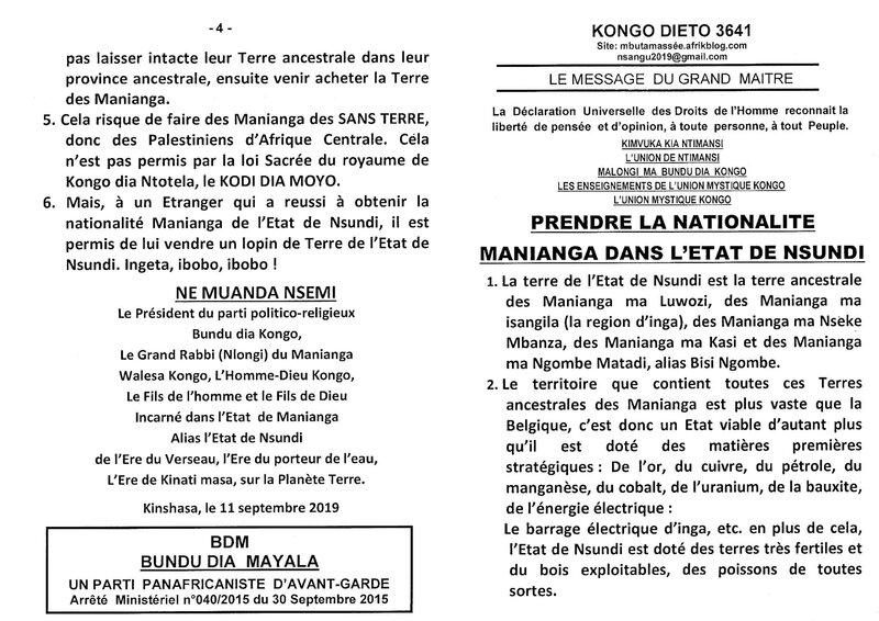PRENDRE LA NATIONALITE MANIANGA DANS L'ETAT DE NSUNDI a