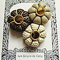 ♥ magia ♥ broche textile japonisante fleurs potirons - les yoyos de calie