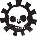 59332_Royalty_Free_RF_Clipart_Illustration_Of_A_Creepy_White_Skull_Over_A_Gear_Version_3