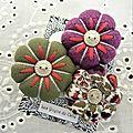 ♥ amaïa ♥ broche textile bohème fleurs potirons - les yoyos de calie