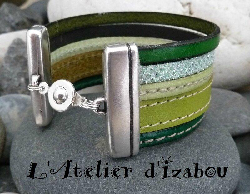 P1160308 Bracelet manchette multirangs femme cuir vert
