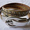 Bracelet double Ceinture de Cuir (nude et or)