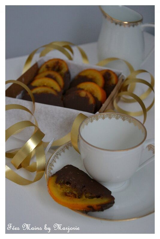 Rouelles d'orange confite au chocolat