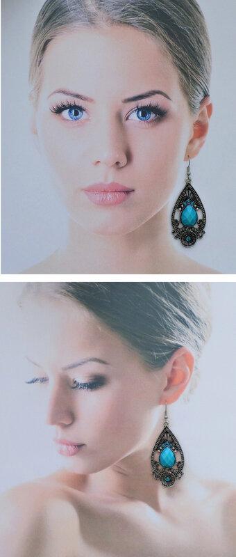 Boucles d'Oreilles StyleTibétain Loden Perle Et Strass Turquoise Argent Du Tibet