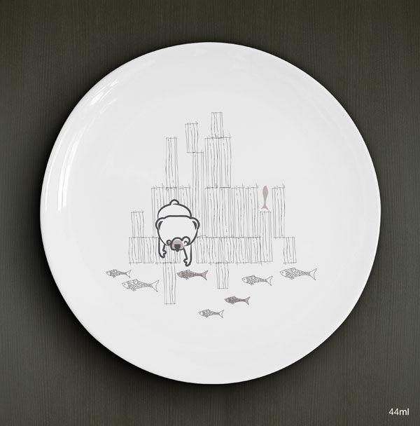 Les Goulus (les cousins, l'ours), porcelaine D.19cm