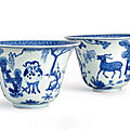 A large and rare pair of blue and white 'ram' bowls, marks and period of jiajing (1522-1566)
