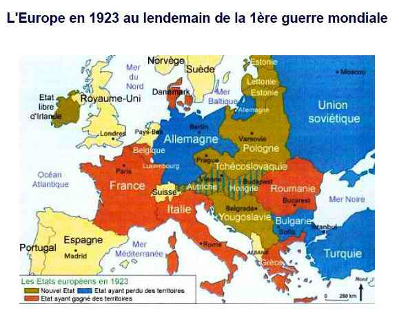 Carte De Leurope En 1919.Les Traites De Paix Recomposition De L Europe Grande