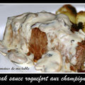 Steak sauce roquefort aux champignons