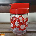 Vintage ... pot en verre henkel fleurs rouges