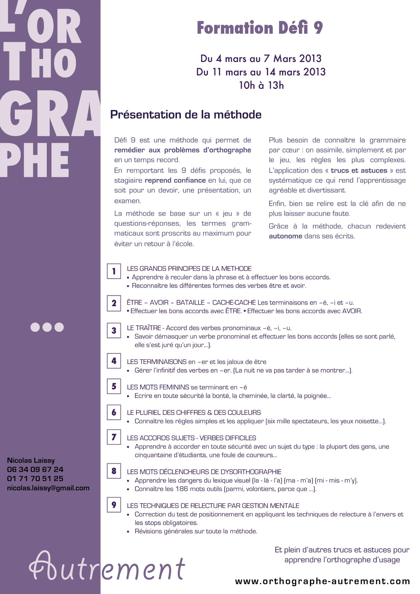 Flyer formation orthographe