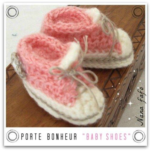 chaussons basket crochet-mini rose