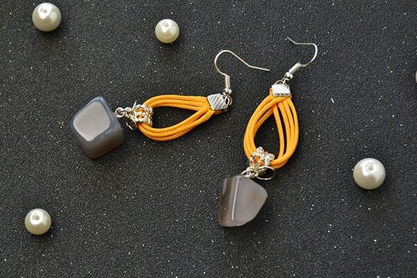 Easy Earrings Design – How to Make a Pair of Gemstone Dangle Earrings with Orange Cords (3)