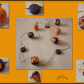 Collier boules marron et orange