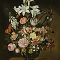 Jacob marrel, still life of flowers in a vase set on a stone plinth with a lizard and grasshopper