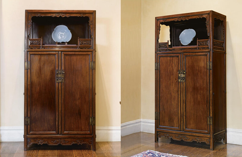 A magnificent and very rare pair of huanghuali cabinets, with display shelf and exposed tenons, (Lianggegui)