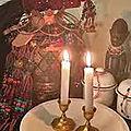 Les bougies du rituel vaudou du maître papa lokossi.