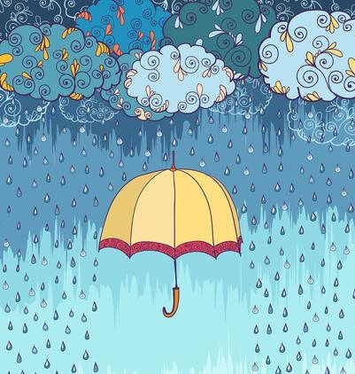 vector-doodles-rainy-weather-decorative-poster