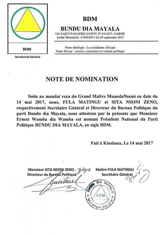 NOTE DE NOMINATION BDM 14 MAI 2017